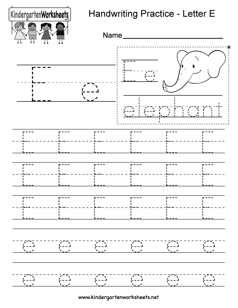 Letter E Writing Practice Worksheet. This Series Of with Letter E Tracing Page