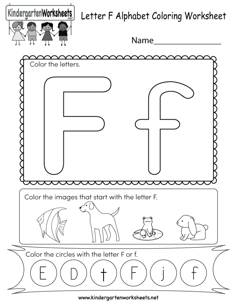 Letter F Coloring Worksheet   Free Kindergarten English Inside Letter F Worksheets For Preschool Pdf