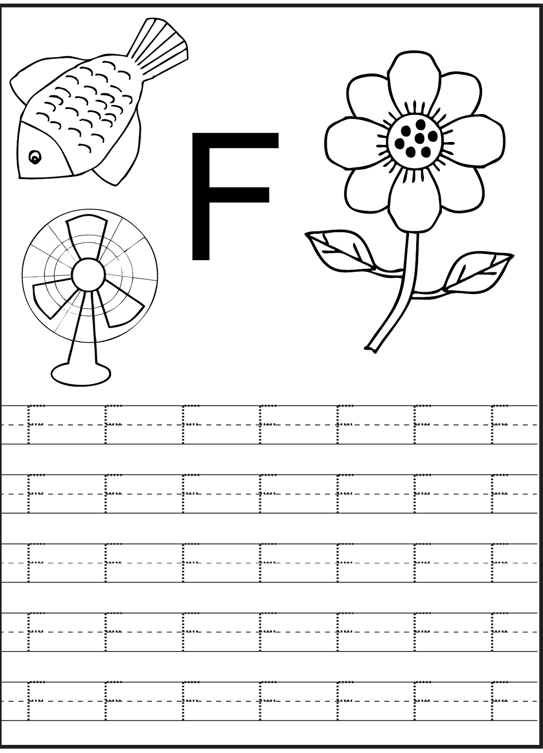 Letter F Worksheet For Preschool And Kindergarten | Alphabet