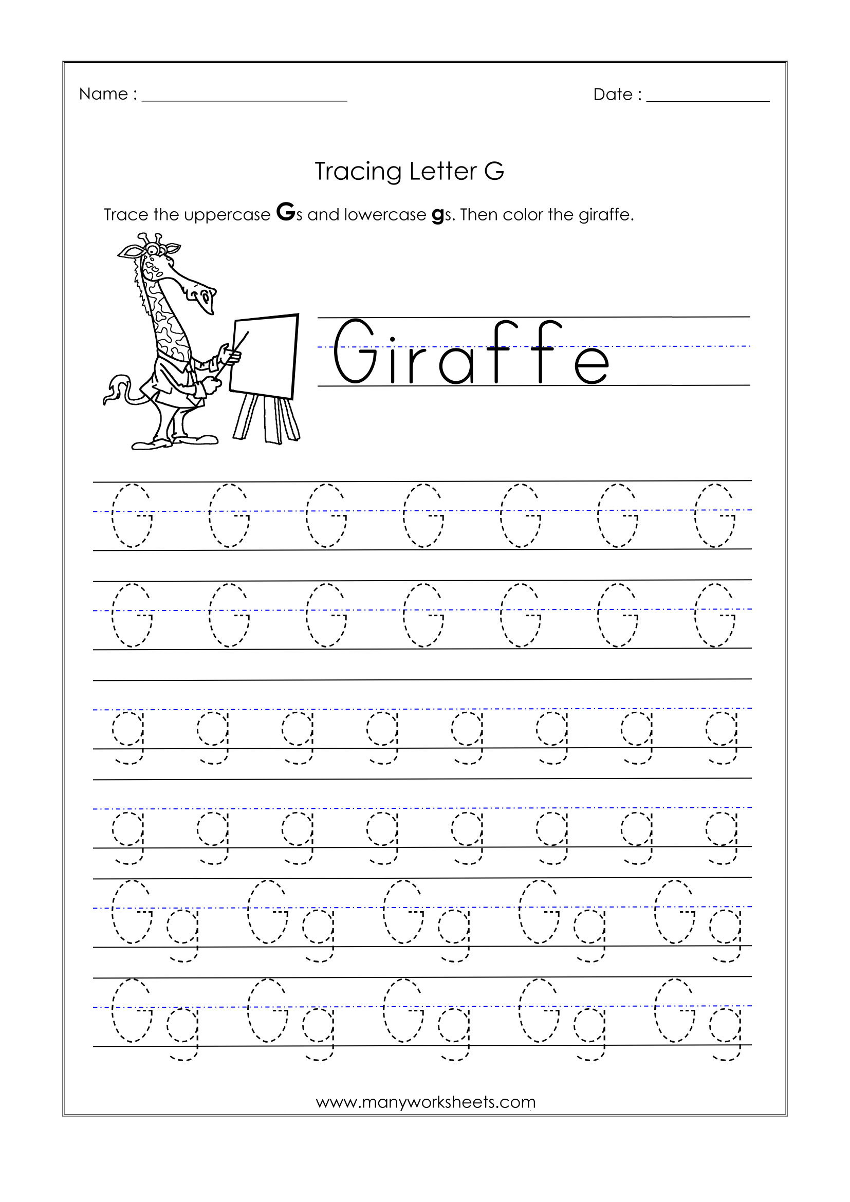Letter G Worksheets For Kindergarten – Trace Dotted Letters within G Letter Tracing