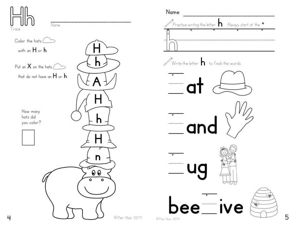 Letter H Worksheet   Learning My Letters Bookletpam Hyer Regarding Letter H Worksheets For Preschool