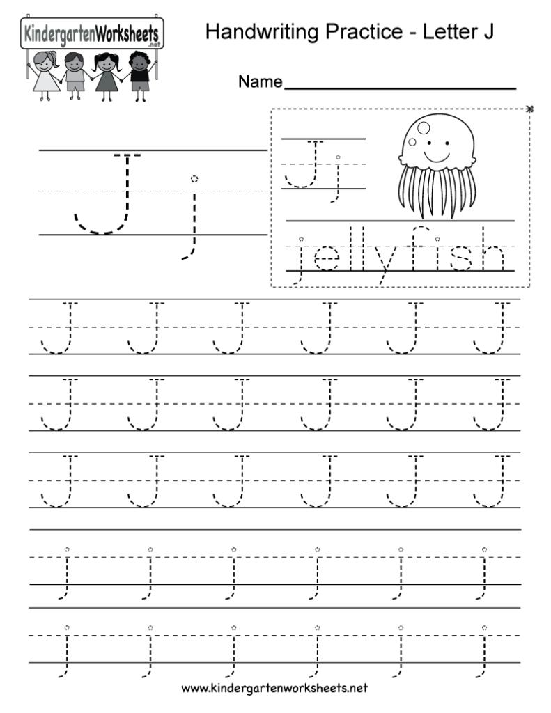 Letter J Writing Practice Worksheet   Free Kindergarten Regarding Tracing Letter J