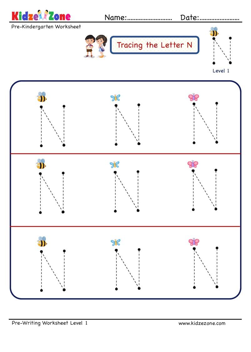 Letter N Tracing Worksheet - Kidzezone in N Letter Tracing