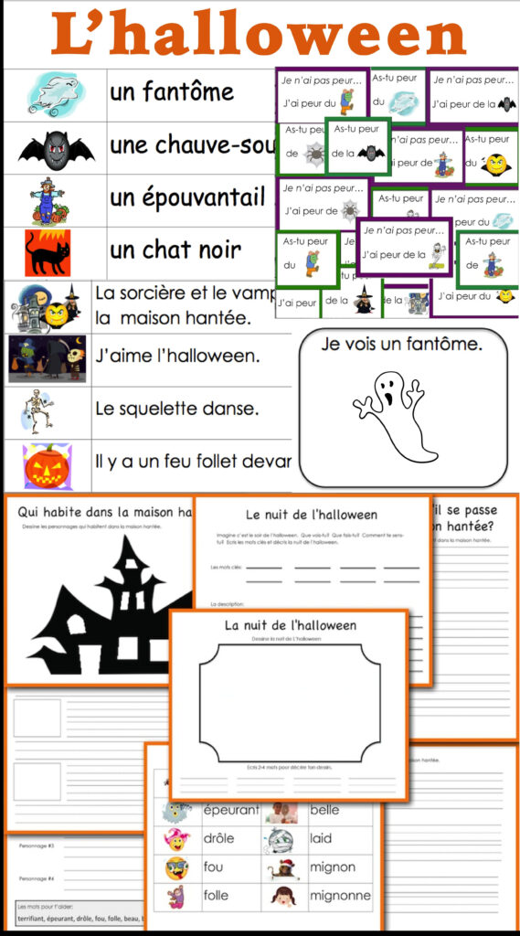 L'halloween: French Halloween Vocabulary And Writing