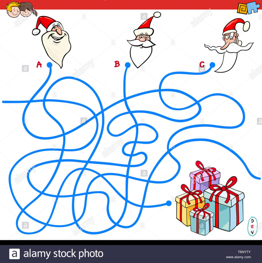 Lines Maze Game With Christmas Santa Characters Stock Photo
