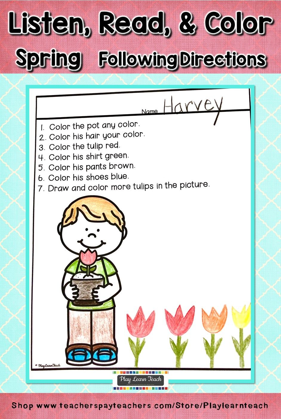 Listen Read Color Spring Following Directions | Writing
