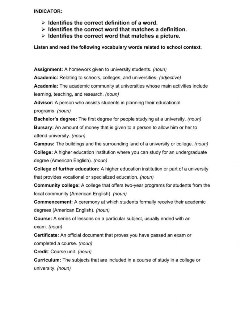 Listening School College Vocabulary Worksheet