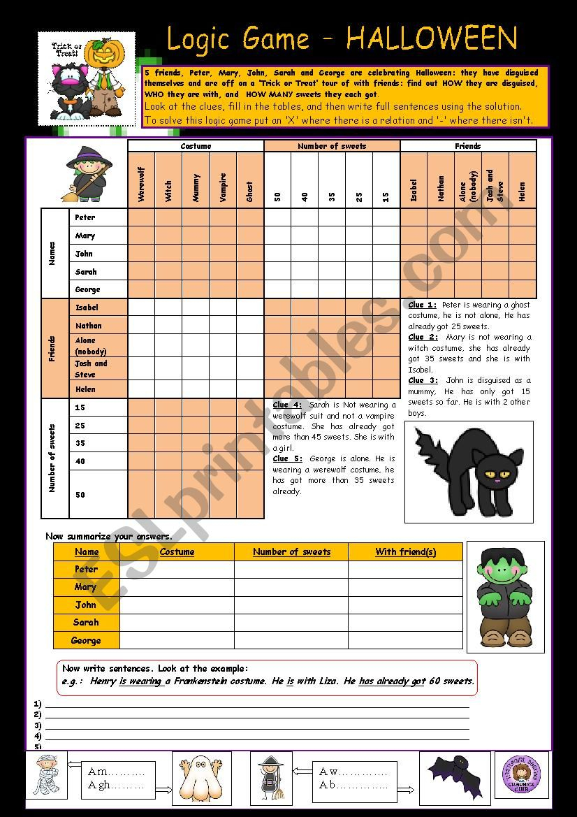 Logic Game: Halloween ;o)) - Esl Worksheetpelletrine