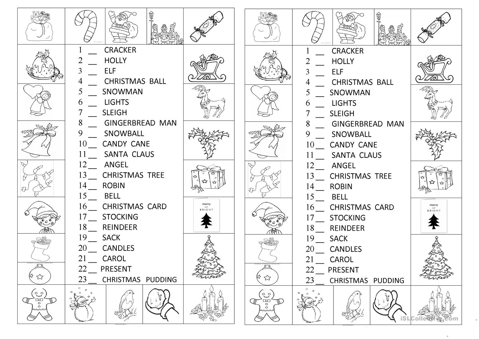 Look And Number The Christmas Symbols - English Esl