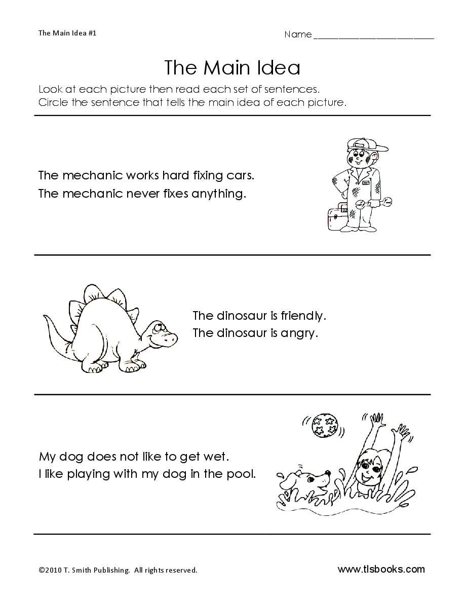 Main Idea Worksheet 1: Early Reading Worksheet | Tlsbooks