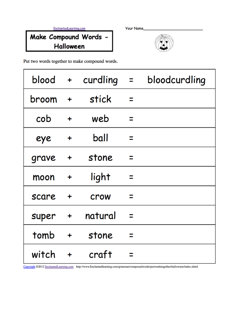 Make Compound Words   Halloween, A Printable Worksheet