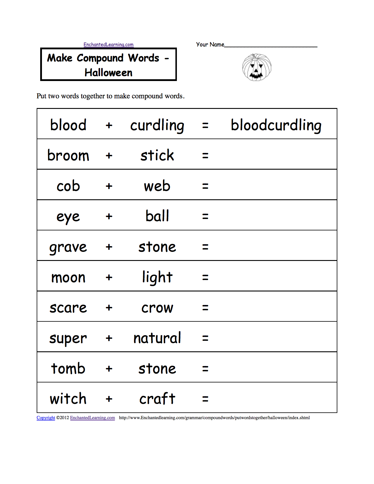 Make Compound Words - Halloween, A Printable Worksheet