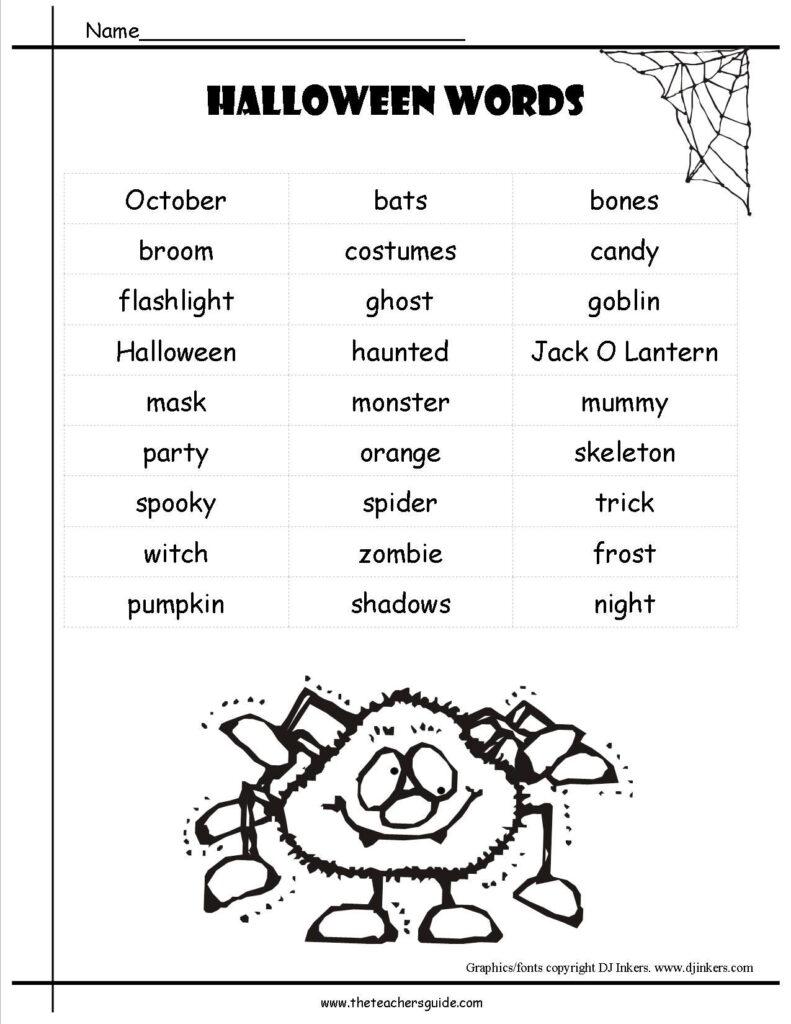 Math Makes Sense 7 Free Language Arts Worksheets Halloween