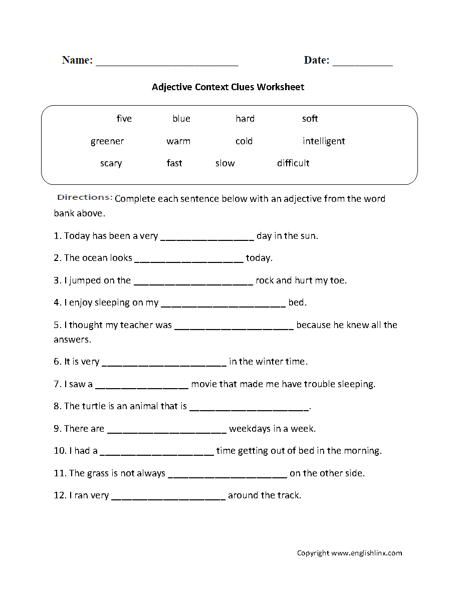 Math Worksheet ~ Adjective Context Clues Worksheet Printable