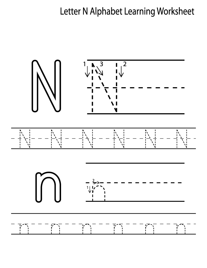 Math Worksheet : Alphabet Letter Tracing Printables For Kids with N Letter Tracing