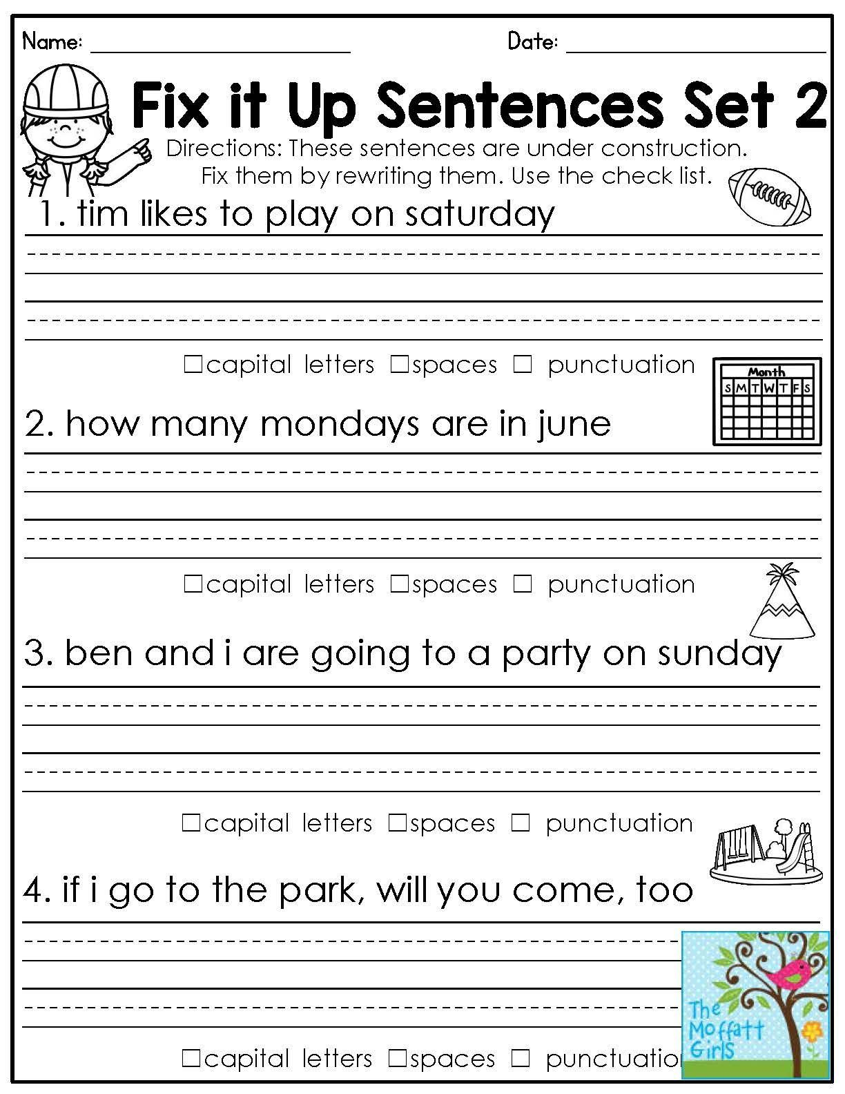 Math Worksheet : Free 1St Grade Language Arts Worksheets