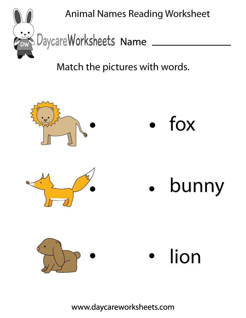 Math Worksheet : Free Animal Words Reading Worksheet Forol