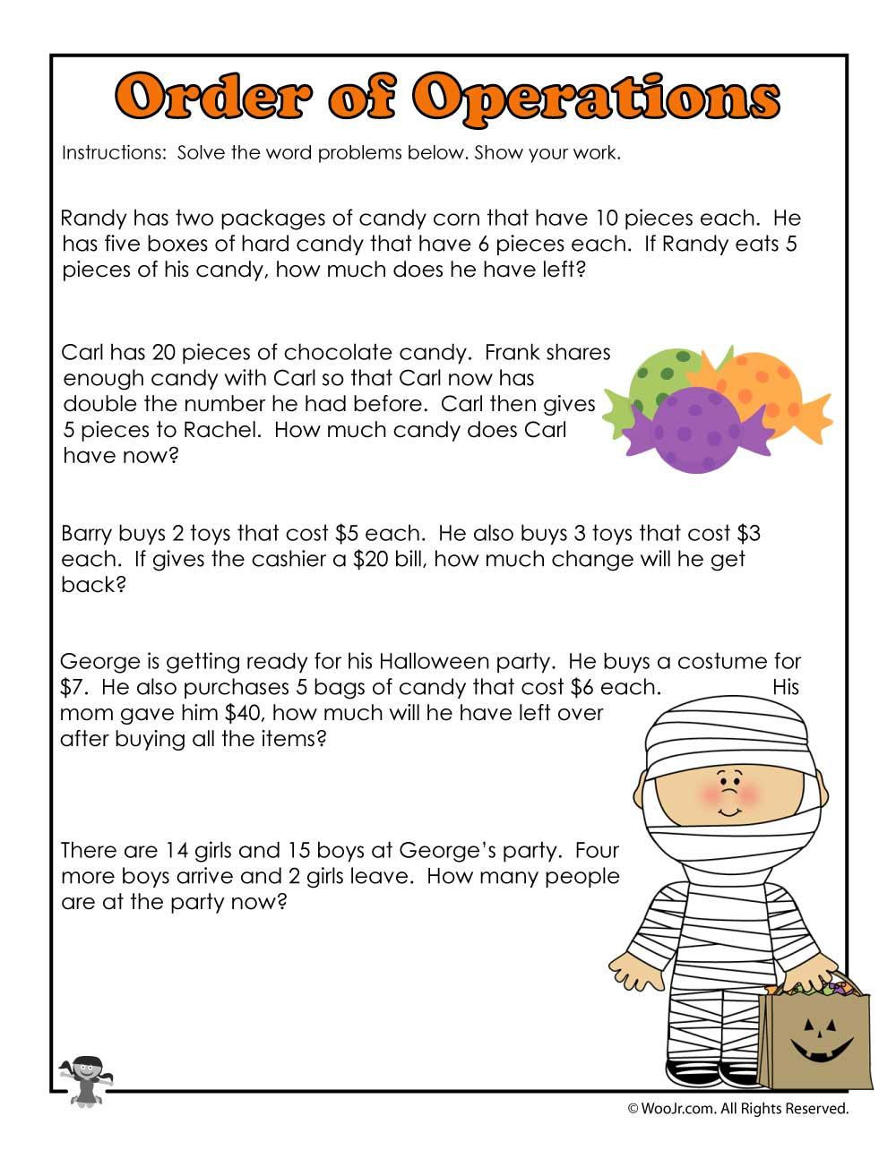 Math Worksheet ~ Halloween 3Rd Grade Worksheet Math