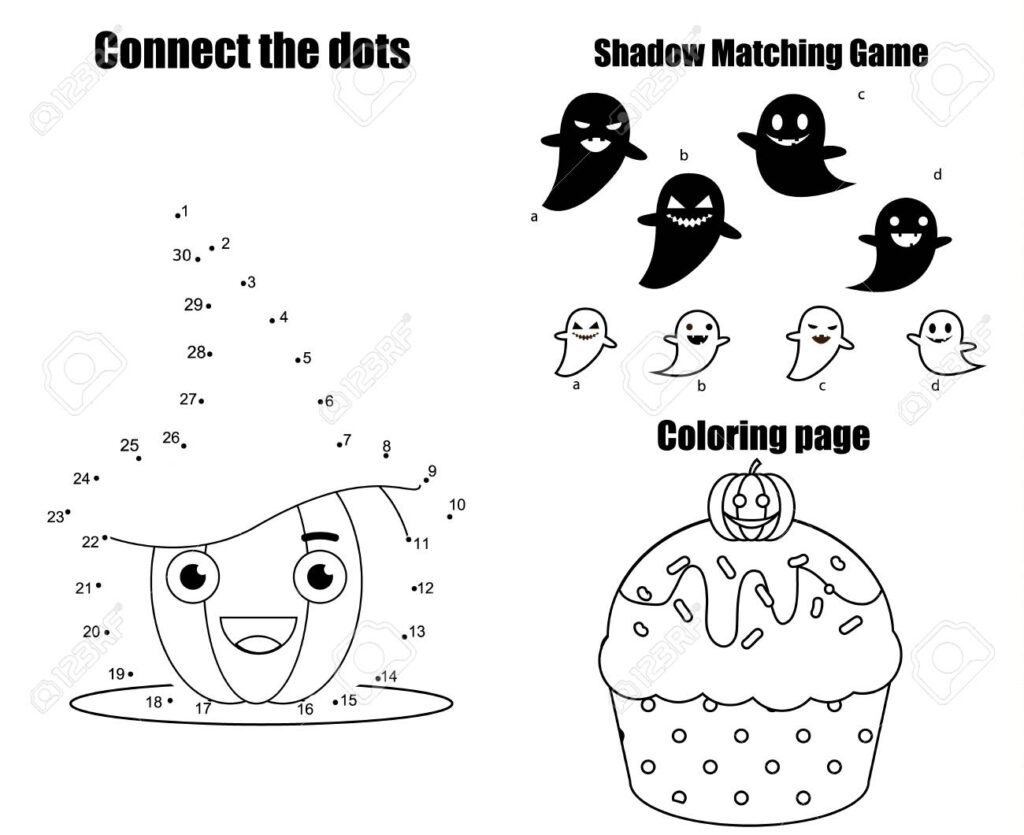 Math Worksheet : Halloween Theme Activity Page For Kids