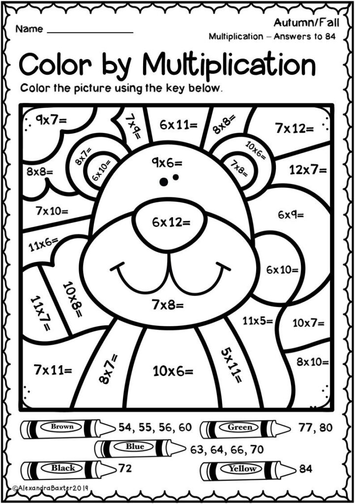 Math Worksheet ~ Math Colornumber Multiplication