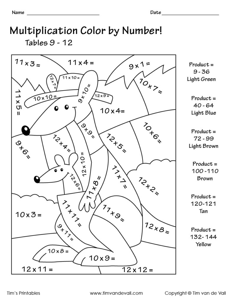 Math Worksheet ~ Multiplication Coloring Pictures Mystery