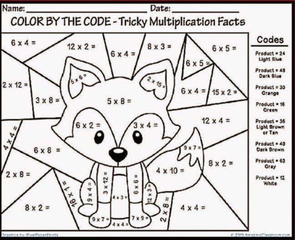 Math Worksheet975D07A535B1B74Ca3_Multiplication Coloring
