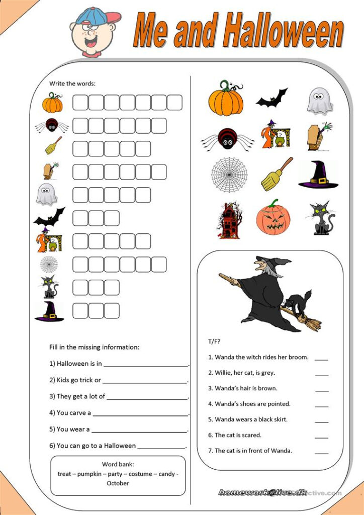 Me & Halloween   English Esl Worksheets For Distance