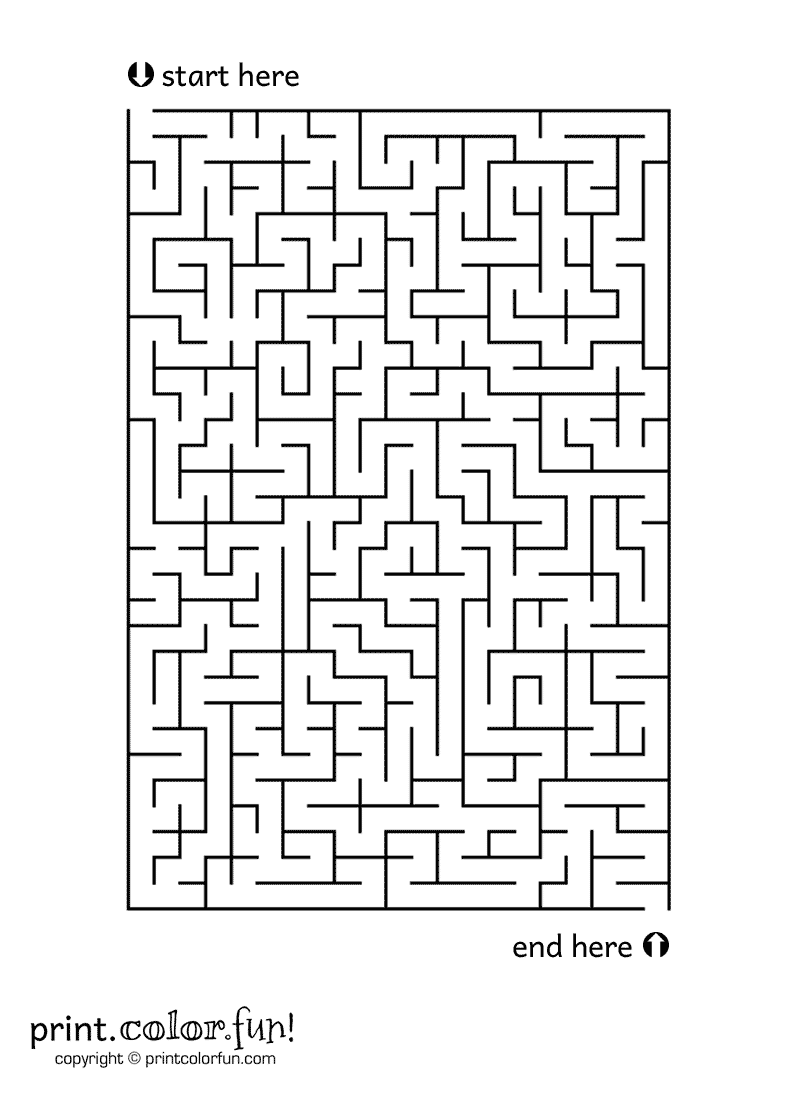 Medium-Size Maze Coloring Page - Print. Color. Fun! | Maze