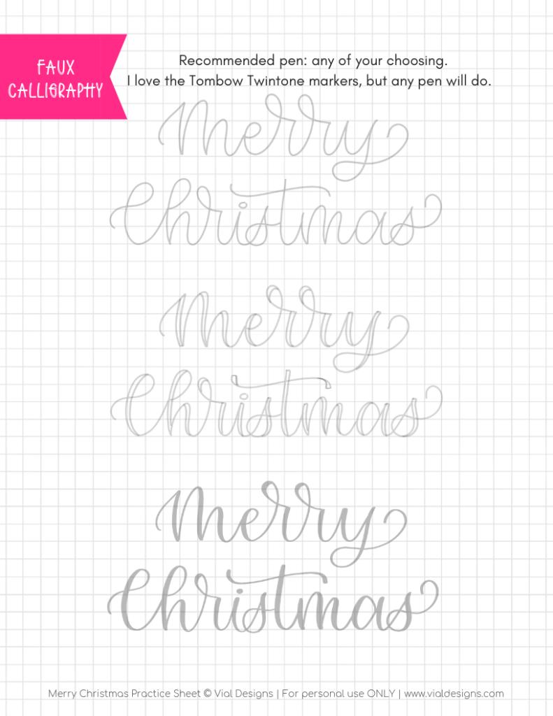 Merry Christmas Calligraphy Tutorial + Free Worksheet | Vial