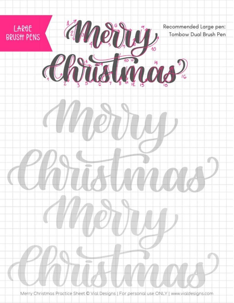 Merry Christmas Calligraphy Tutorial + Free Worksheet   Vial