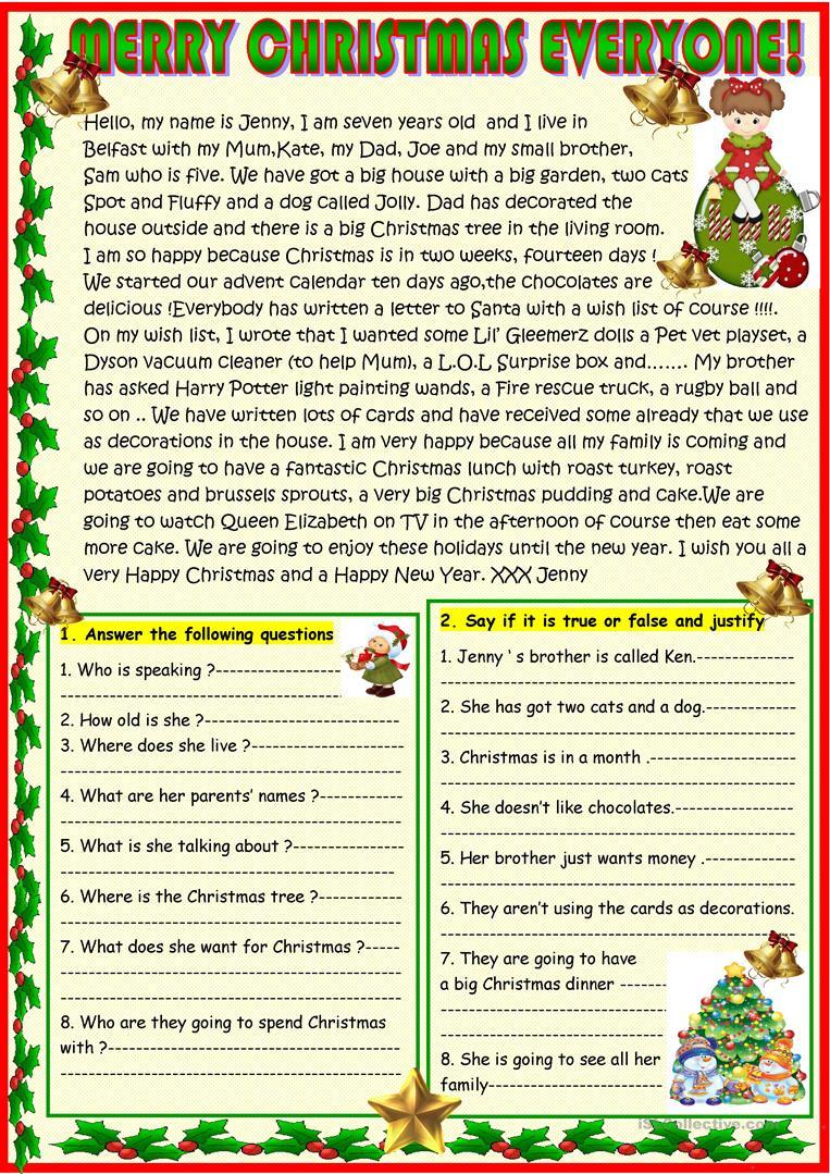 Merry Christmas Everyone! Christmas Reading - English Esl