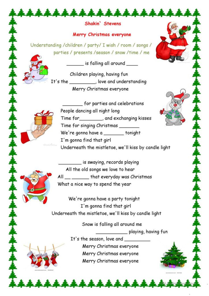 Merry Christmas Everyone Song   English Esl Worksheets For