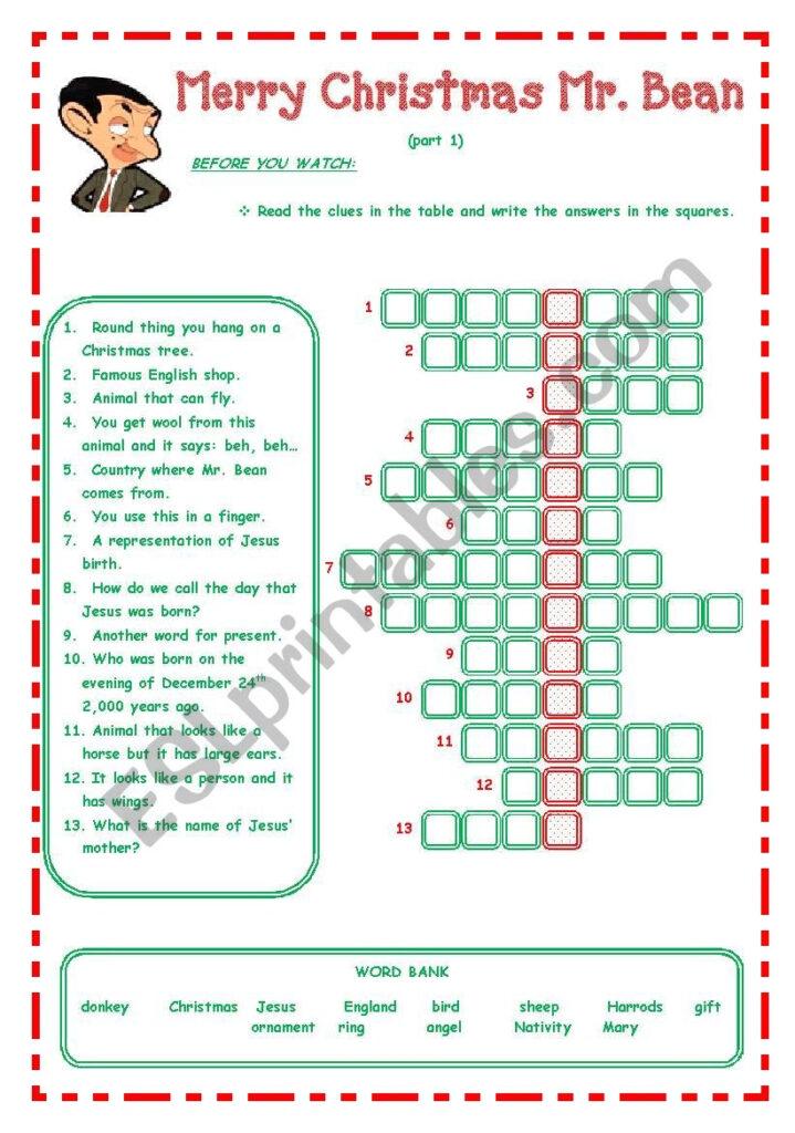 Merry Christmas Mr. Bean       3 Pages         Esl Worksheet