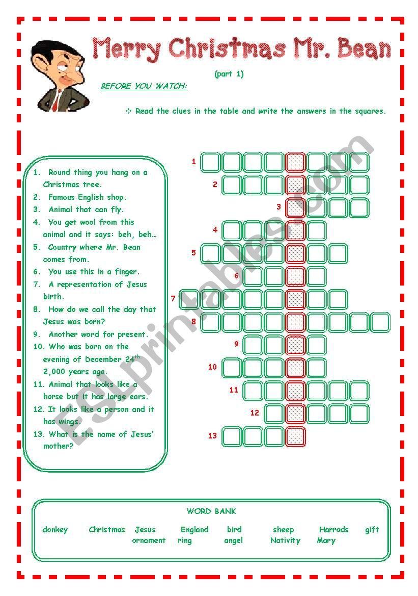 Merry Christmas Mr. Bean - - - 3 Pages - - - - Esl Worksheet
