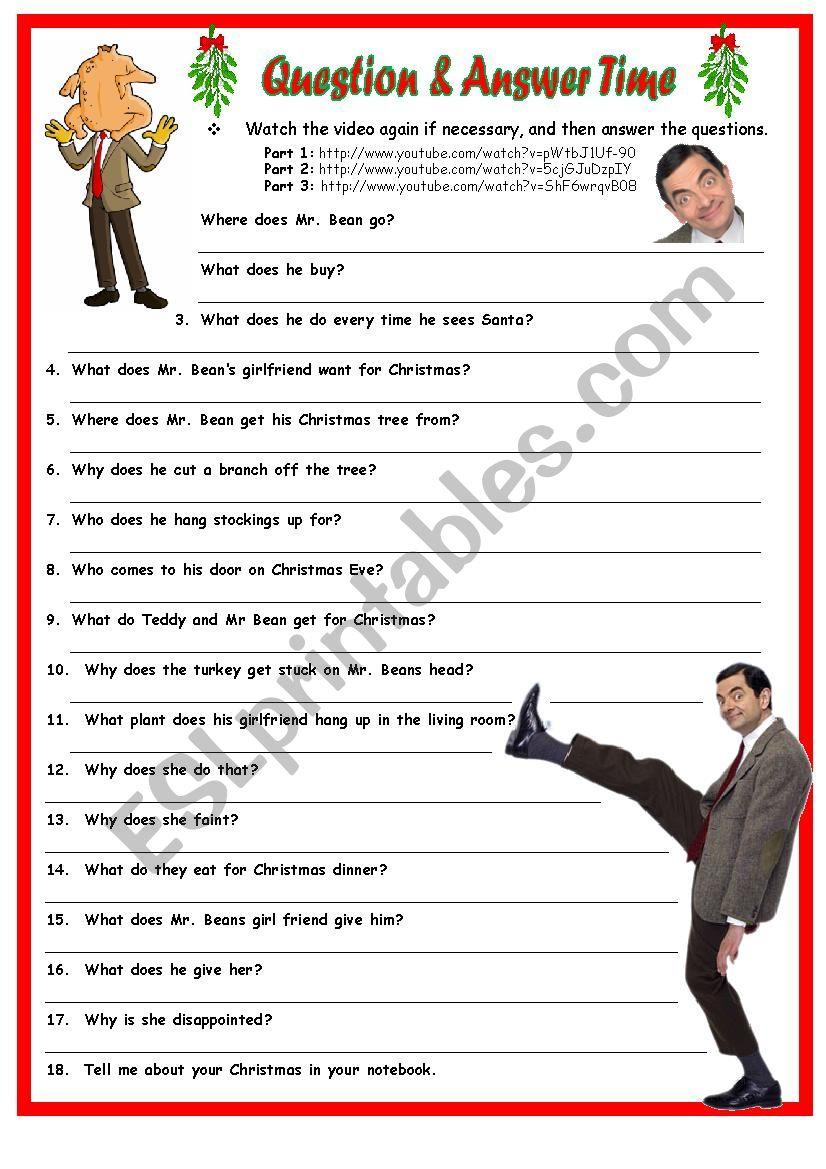 Merry Christmas Mr. Bean Qa. 1 Page Plus Key. - Esl