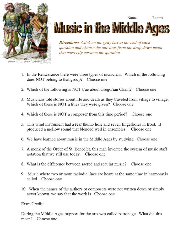 Middle Ages Worksheet   Doc | Worksheets For Kids, General