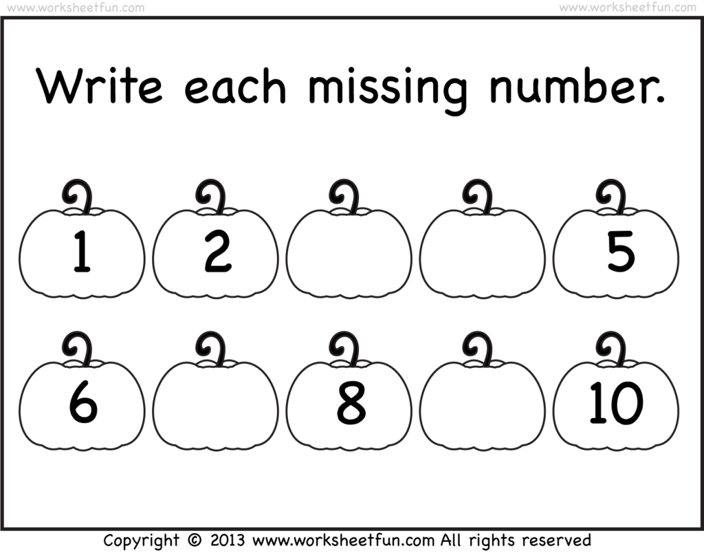 Missing Numbers – 1 10 – Worksheet | Free Preschool