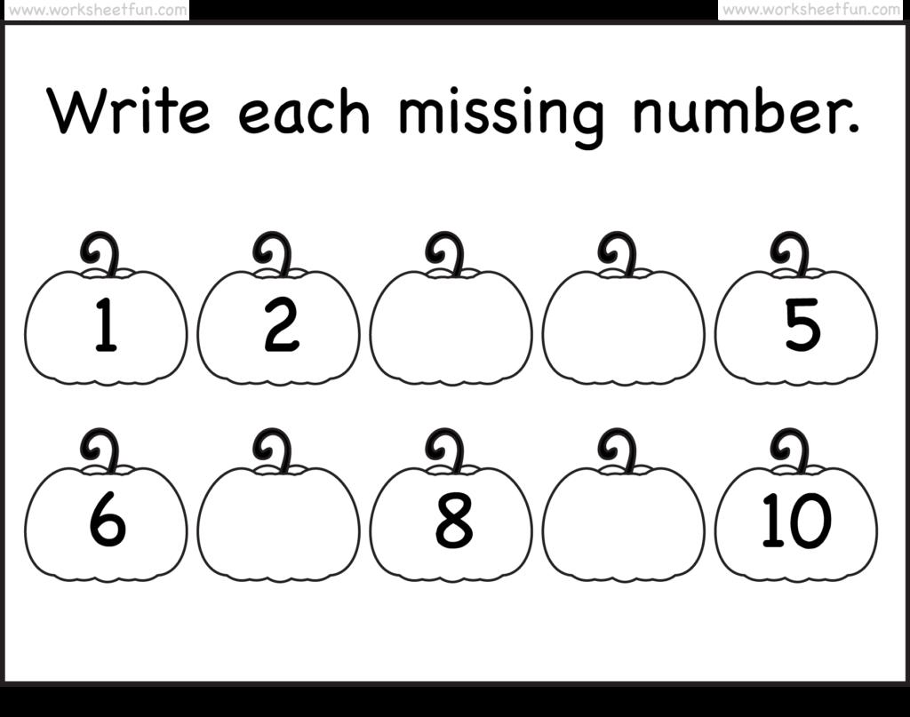 Missing Numbers – 1 10 – Worksheet   Free Preschool