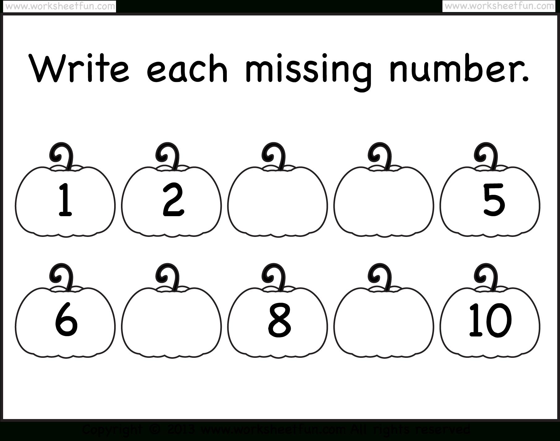 Missing Numbers – 1-10 – Worksheet   Free Preschool