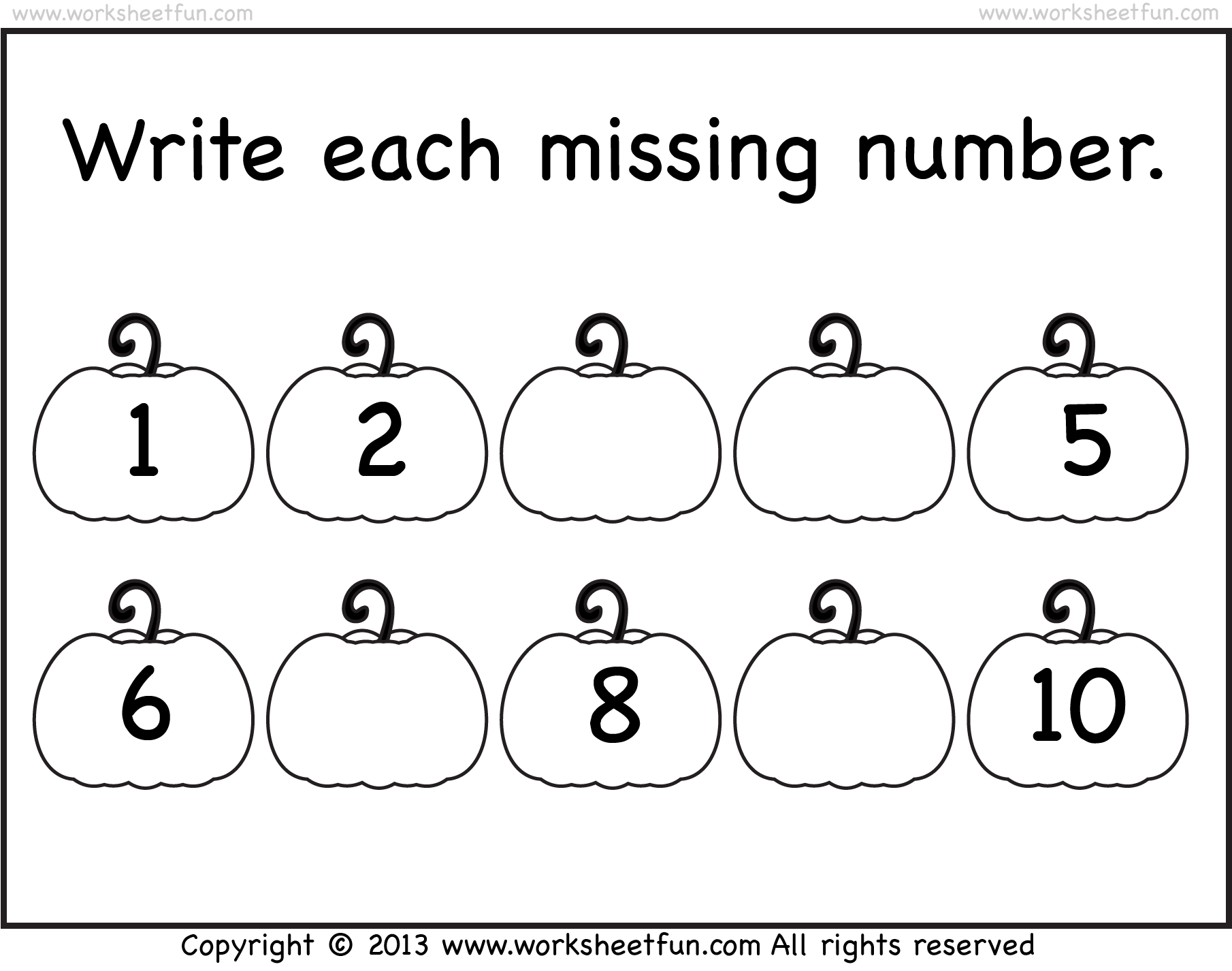 Missing Numbers – 1-10 – Worksheet | Free Preschool