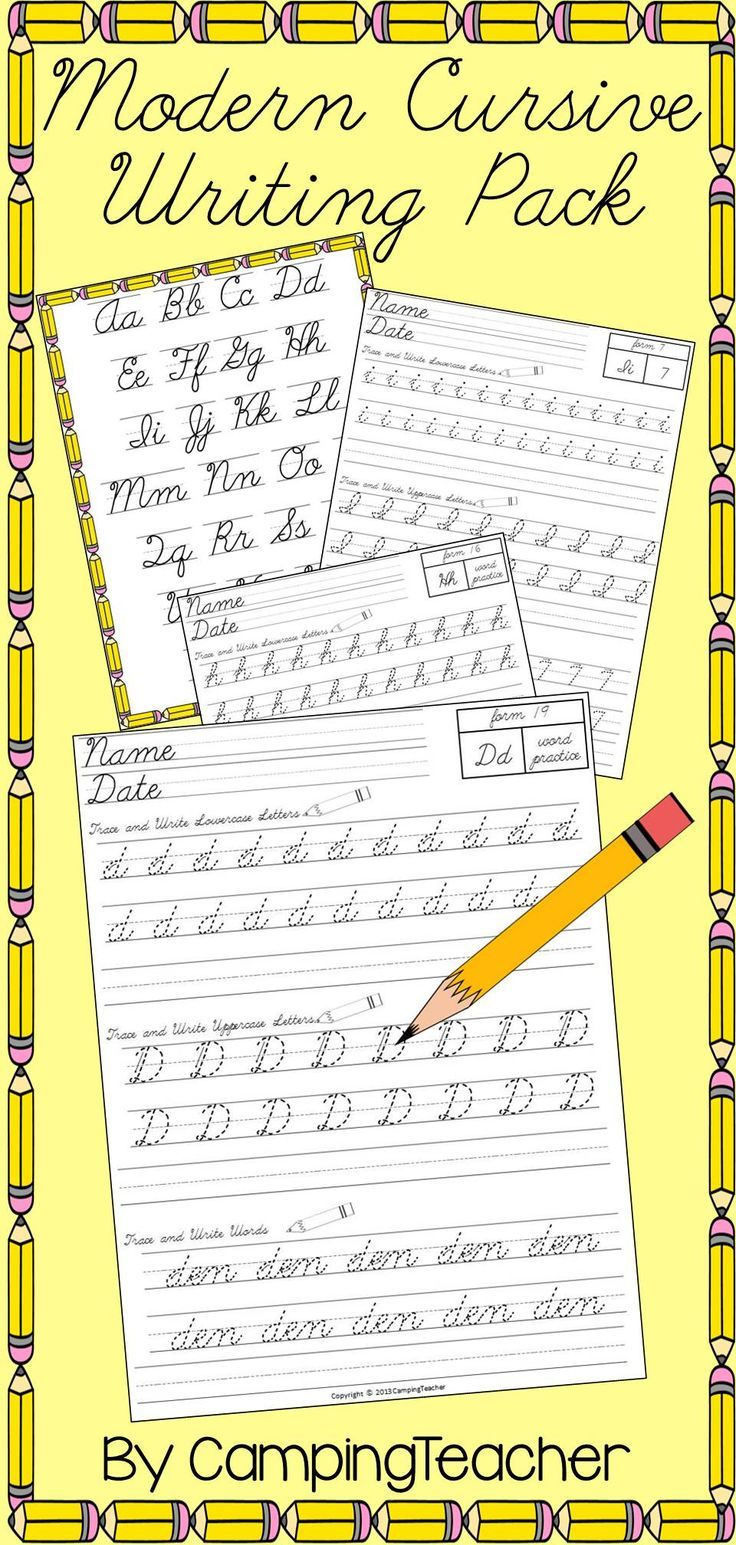 Modern Cursive Writing Pack - Handwriting Practice For D