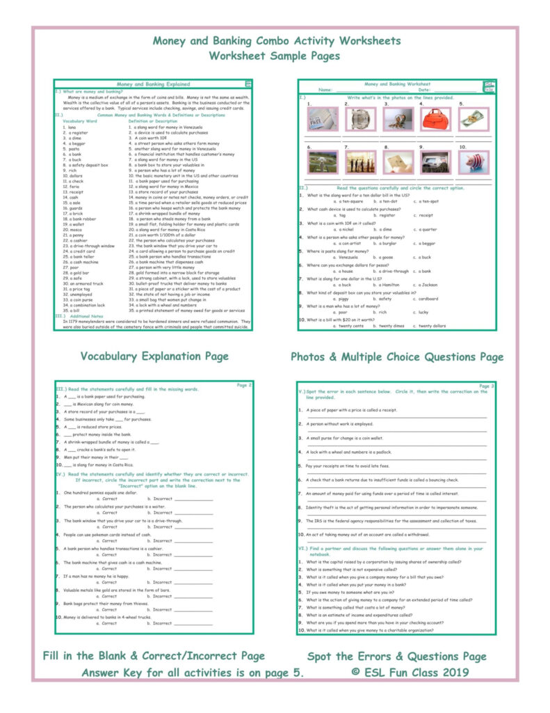 Money And Banking Combo Activity Worksheets Teaching