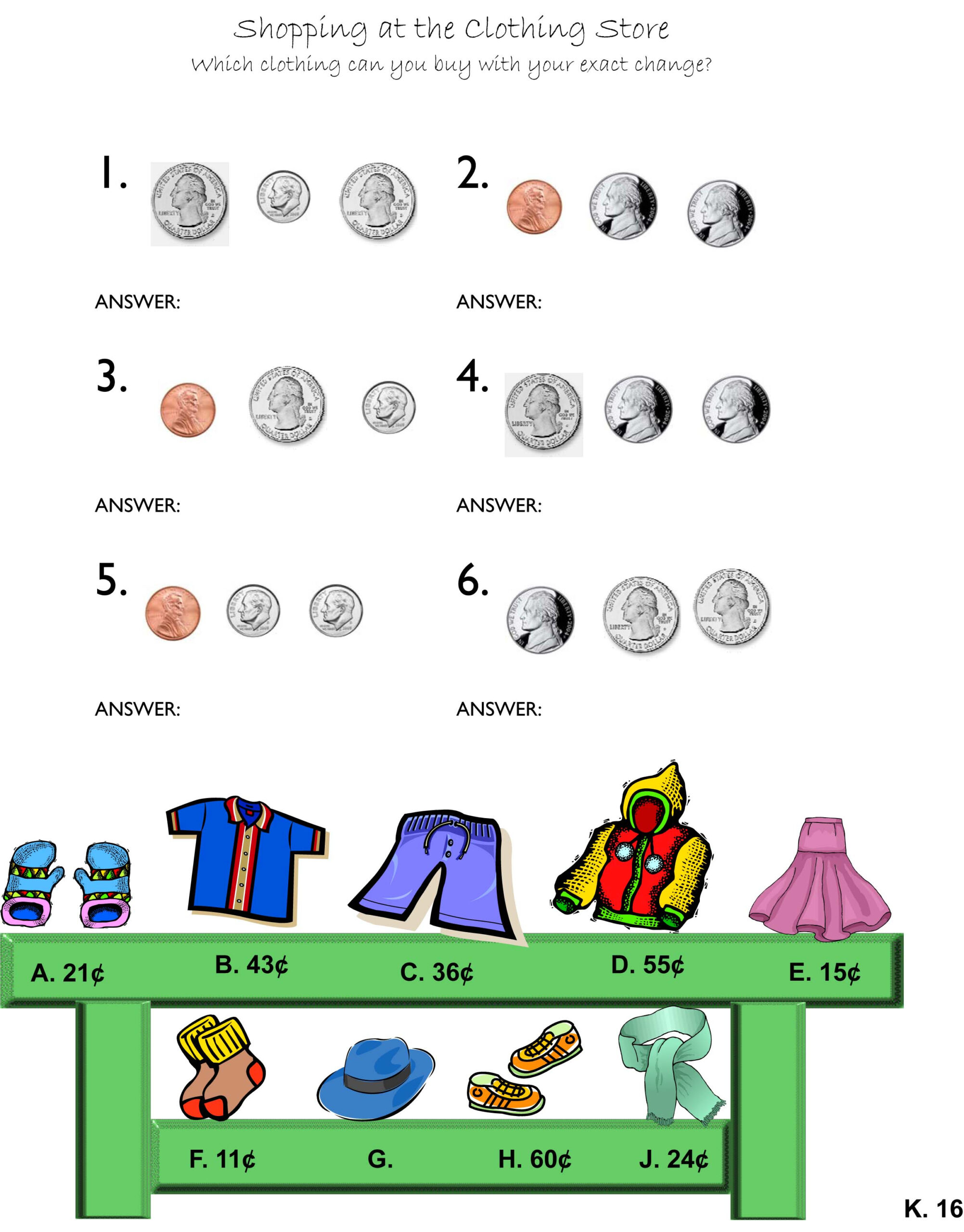 Money Store Worksheets | Counting Money Worksheets
