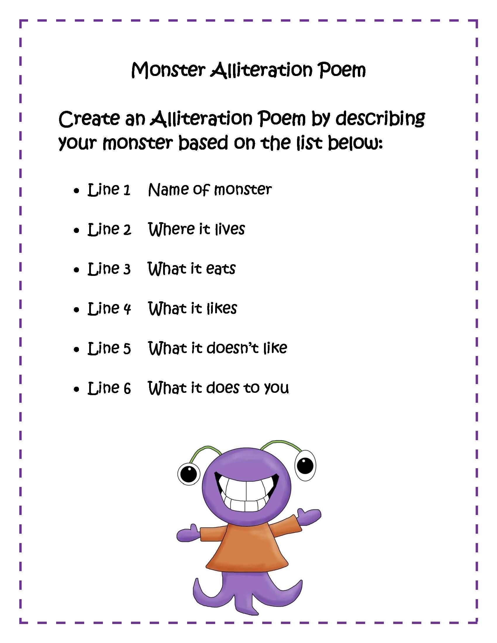Monster Poem | Alliteration Poems, Alliteration, Poems About