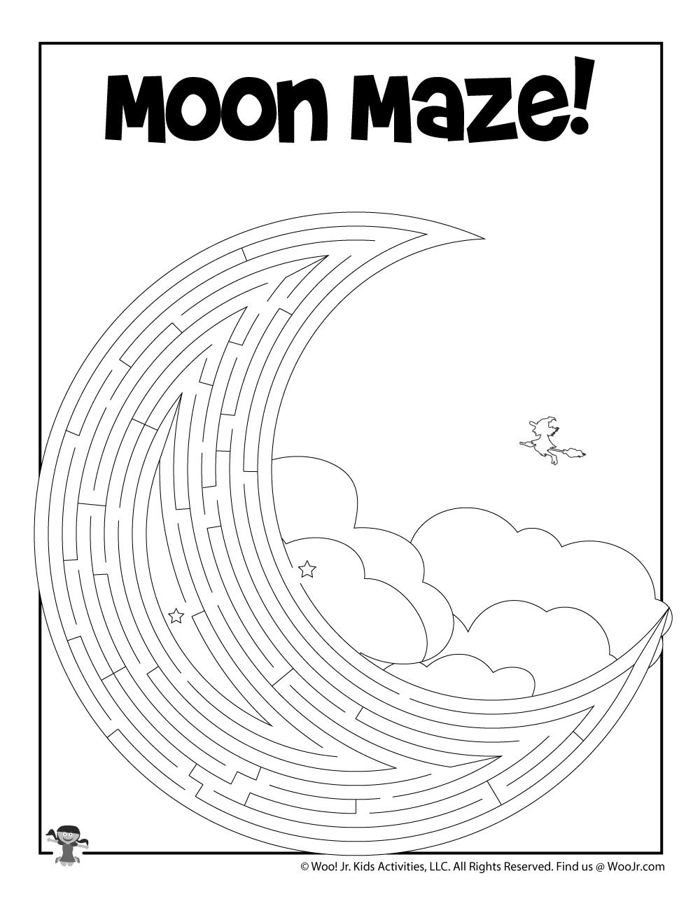 Moon Printable Maze Worksheet | Woo! Jr. Kids Activities