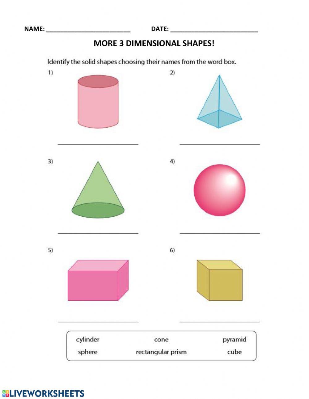More 3D Shapes! Worksheet