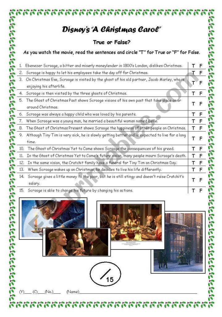 Movie: Disney´s A Christmas Carol (2009)   Esl Worksheet