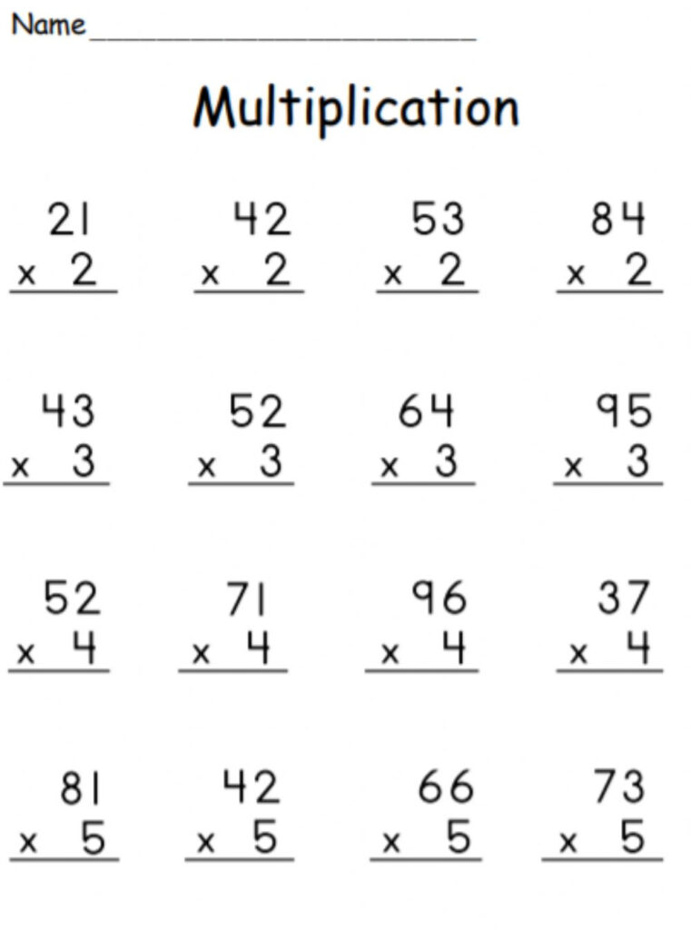 Multiplication 2 Digit1 Digit (With Regrouping) Worksheet