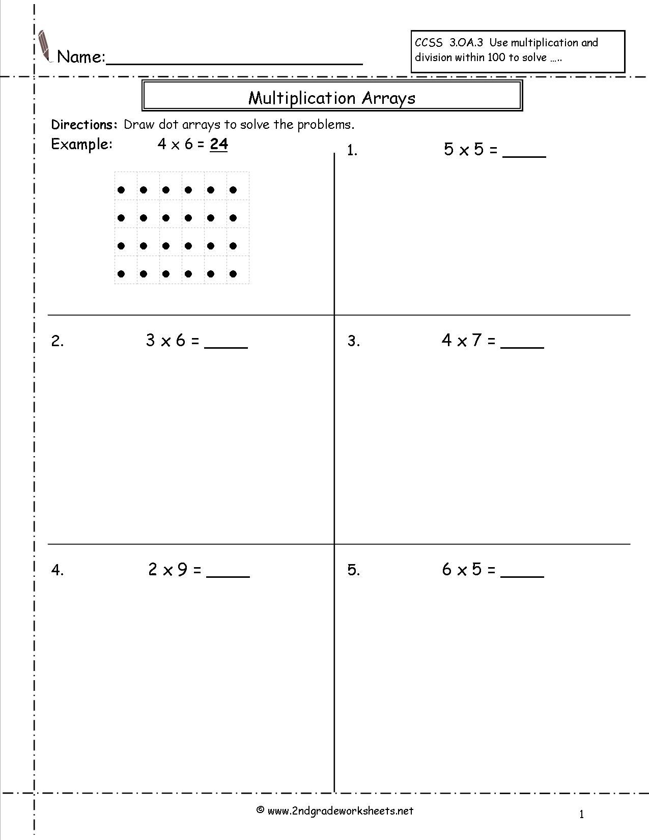 Multiplication Arrays Worksheets | Array Worksheets