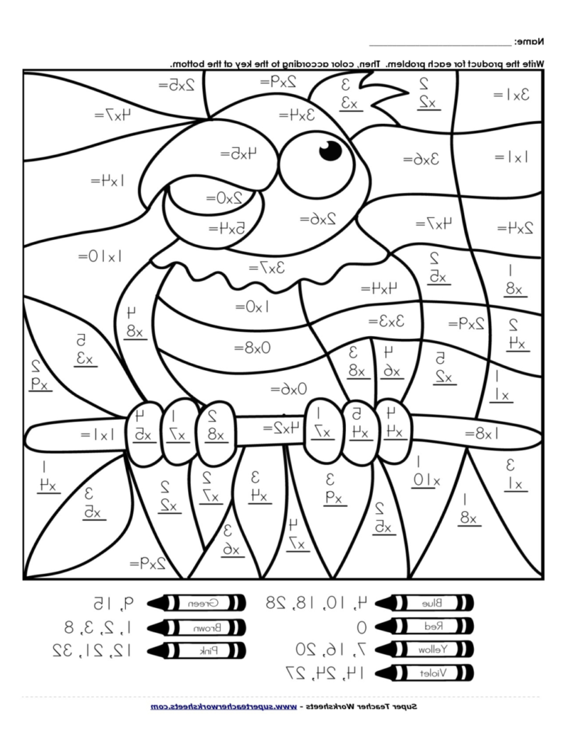 Multiplication Coloring Pages Spring Worksheets Color